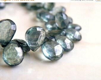 Clearance SALE Fern Green Mystic Quartz Gemstone Faceted Teardrop Briolette 12 to 13mm 14 beads
