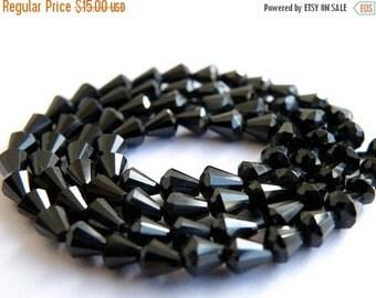 Mega SALE AAA Black Spinel Gemstone Faceted drop 4mm 1/2 Strand 38 beads