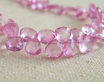 Pink Topaz Gemstone Briolette Mystic Faceted Heart 6.5mm 13 beads