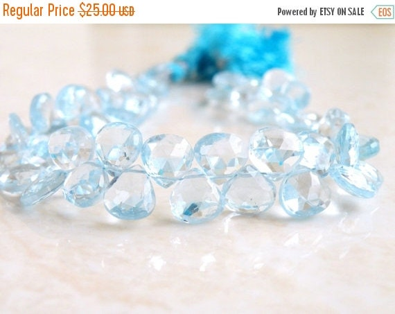 Clearance SALE Sky Blue Topaz Gemstone Briolette Heart Faceted 7.5 to 8mm 9 beads