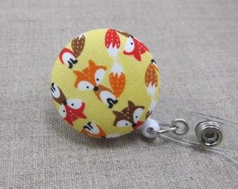Foxes Badge Reel   Badge Holder, Retractable Badge Holder, Nurse Badge Reel, ID Badge Holder, Badge Clip, Cute Badge Reel