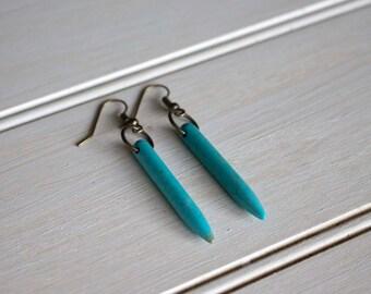 Turquoise Spike Dangle Earrings