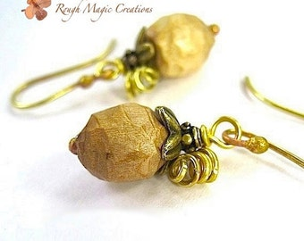 Natural Wood Earrings, Antique Brass, Boho Gift for Women, Rustic Hand Carved Wooden Beads, Woodland Theme, Eco Friendly Jewelry  E366