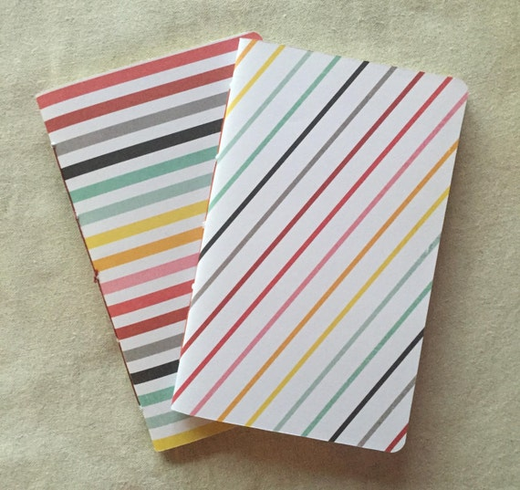 Rainbow Stripes Set of Two Blank Sketchbooks