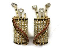 Rhinestone Golf Bag Earrings - Mid Century, Costume Jewelry, Clear Black Red Stones, Huge