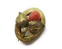 Coral Jewelry - Gold Leaf Brooch, Estate Jewelry, Victorian 1900s, Carved Flower