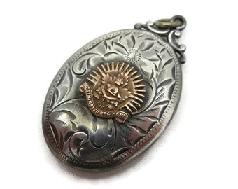 Etched Silver Locket - Birks, Sterling, Canada Westminster Army Regiment, Military Sweetheart