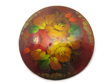 Russian Hand Painted Brooch - Vintage, Lacquer, Flowers