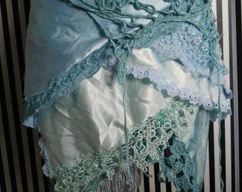 Mermaid Bustle Skirt with Lace Trim