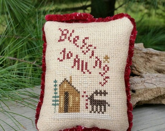 Christmas Ornament Cross Stitch  Blessings To All