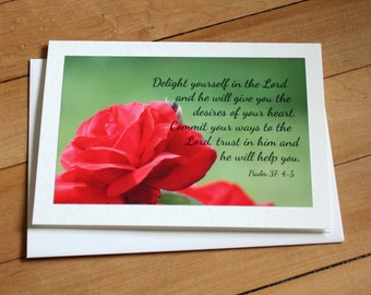 Bible Verse Greeting Card, Blank Greeting Card, Note Card, Any Occasion, Scripture, Photography, Photograph, Psalm 37: 4-5, Flower Card
