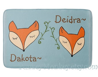 Woodland fox rug plush floor mat made to order optional personalization  24x36 twins option