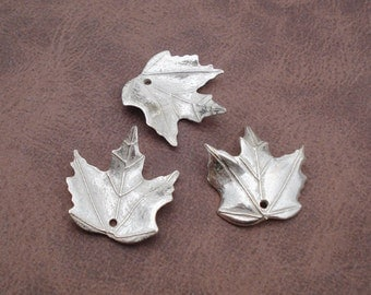 Vintage 19x18mm Silver Color Metallic Maple Curled Leaf/Leaves Beads with Hole (6 pieces)