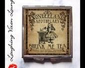 Alice In Wonderland Pill Box - Pill Case - Shrink Me Compact Mirror - Magic Potion Label - Bag Mirror - Purse Mirror - Makeup Mirror