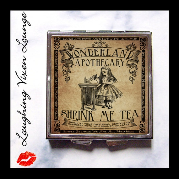 """Alice In Wonderland Pill Box - Purse Accessories - Compact Mirror - Magic Potion Label """"Shrink Me"""" - Looking Glass Pill Case - Makeup Mirror"""