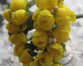 Fabric Millinery Flowers From Austria 18 Yellow Buds On 6 Stems Flowers A-1Y