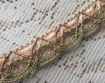 """1 Yard Vintage Metallic Trim Ribbon 11/16"""" Wide Pale Peach & Gold Very Fancy Old Store Stock OST 101"""