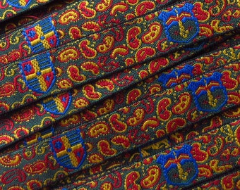 Made In Italy Paisley Jacquard Trim 1/2 Inch Wide 2 Yards  Traditional Florentine Design IT 1