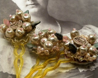 Set of Three Antique VICTORIAN Lily of Valley Flower Button HAIRPINS Champagne Blush Pink BAROQUE Pearls  Crystals Fantasy Boho Wedding Prom