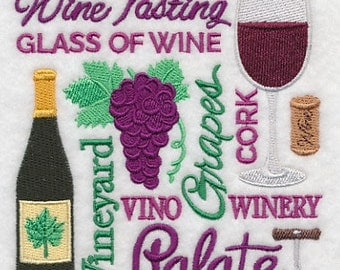 Wine Tasting Embroidered Ktchen Tea Towel