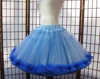 Petticoat Sky Blue Organdy with Royal Chiffon Size Medium Custom