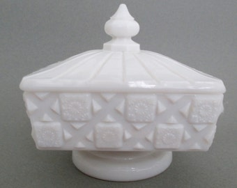 MidCentury Milk Glass Candy Dish White Geometirc