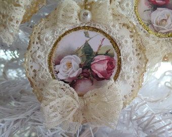 Set of 4 Shabby Vintage Chic Roses Paper Doily Ornament Lace Bows and Pearls Gift Tags Scrapbooking