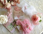 VINTAGE COLLECTION - DIY Supplies -'Pink & White Collage - Assemblage -  Vignette - Hand stamped French trim and more