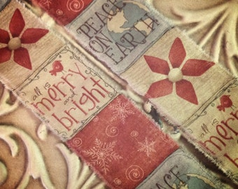 """65""""   - Tea dyed  Primitive Whimsical Christmas Trim   -  Merry and Bright - Peace on Earth Garland  Gift Ribbon -"""