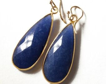 Blue Sapphire Earrings Precious Sapphire Teardrop Earring Real Sapphire Genuine Sapphire 14k Gold Bezel September Birthstone BZ-E-139-Sapp/g