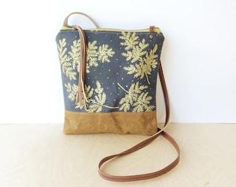 weekdayer • crossbody bag - floral print • metallic gold - slate gray canvas - botanical print - screenprint - brown waxed canvas • native