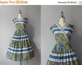 STOREWIDE SALE 1950s Dress / Vintage 50s Novelty Print Dress / Medieval Print 1940s Day Dress