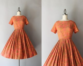 1950s Dress / Vintage 50s Fall Floral Dress / Fifties Brushed Cotton Pleated Day Dress