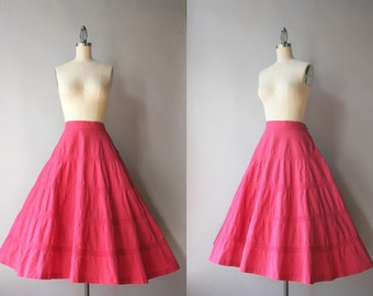 1950s Skirt / Vintage 50s Full Cotton Skirt / Fifties Tiered Cotton Skirt