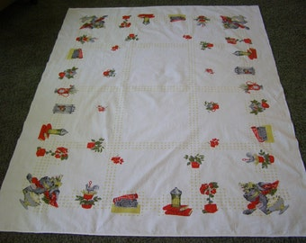 Vintage Tablecloth ~ Books Strawberry Strawberries Biscuits Tea