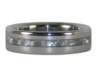 White Carbon Fiber Titanium Ring