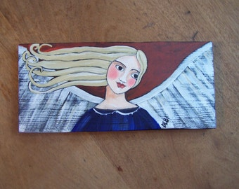 Angel Painting Original, one of a kind Folk Art Painting Americana FREE SHIPPING