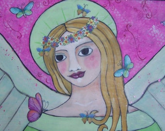 "Angel Painting Original Folk Art Painting Encaustic Butterflies Bright focal point 22""  x 11 3/4"""