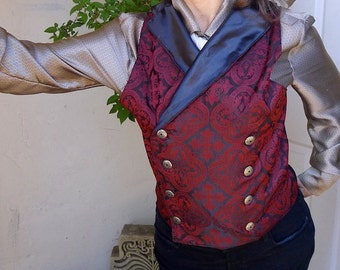 Black and Maroon Medieval Pattern Silk Brocade Steampunk Victorian Double Breasted Lapeled Gentlemen's Vest