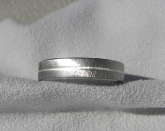 Titanium Ring with Silver Pinstripe Inlay, Wedding Band, Frosted Finish