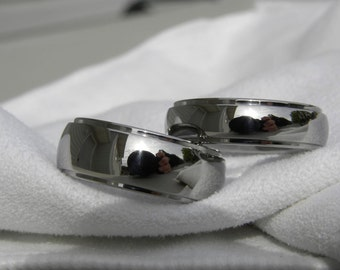 Matching Ring Set or Titanium Wedding Bands Domed Stepped Profile