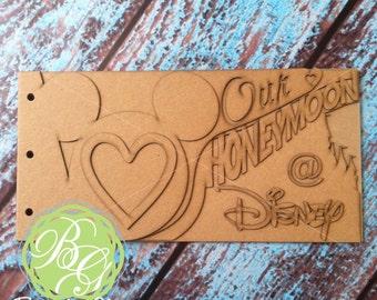 HONEYMOON Scrapbook chipboard album BLANK DIY for wedding memories, Newlywed gift, Disney honeymoon photos 6pg