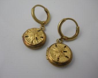 Sandollar LOCKET Earrings on Rounded Hoop Ear Wires Golden Brass Dainty Women's Jewelry Beach Ocean Sun Vacation Sea Memories