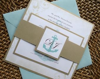 Anchor Wedding Invitation set, nautical wedding invitations, Vintage invitation, cruise Wedding Invitation, yacht invitation, aqua invite