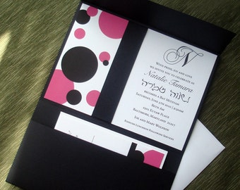 Black Pocket Bat mitzvah Invitation, hot pink  invitation, Modern bat mitzvah invitations, pockfold wedding invitation, sweet 16 invitation