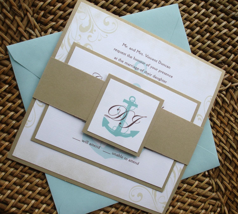 Anchor Wedding Invitation Set Nautical Wedding Invitations