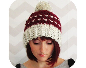 Classic knit look crochet hat with big pompom - choose any color! - vegan