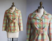 1970s belted PASTEL plaid wool coat with belt / xs - s