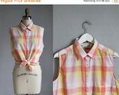 VALENTINES DAY SALE vintage Diane Von Furstenberg peach - yellow checkered plaid sleeveless top / m - l