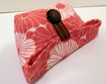 Small Foldover Bag/ Pinkish Coral and White Floral